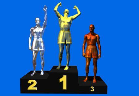 Gold-Silber-und Bronze-Gewinner auf der Bühne