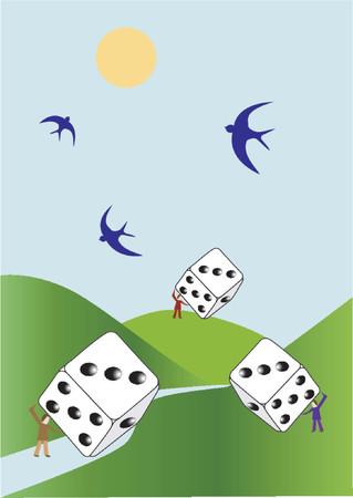 Gambling, rolling dice Stock Vector - 411577
