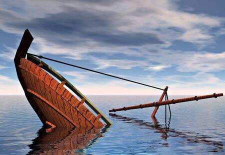 Una nave affonda nel mare. Simbolico dei concetti di fallimento e sconfitta.