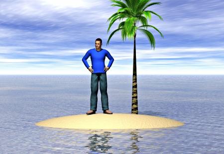 島に孤独な男。孤独との分離の概念を描いた画像