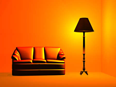 A room lit by a lamp Stock Photo - 681521