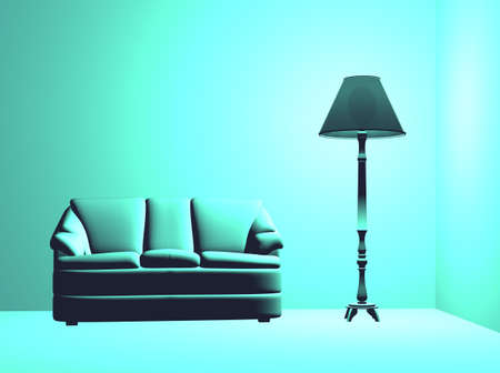 A blue settee in a blue room with a blue lamp Stock Photo - 681522
