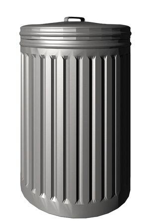An aluminum trash bin