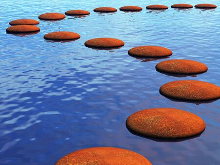 A path accross the river made from stepping stones Stock Photo