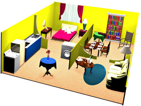 cutaway: A cutaway view of the interior of a house