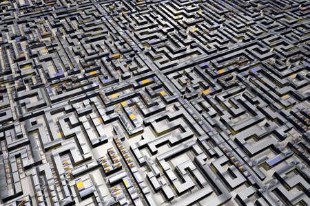riddles: A complex, maze-like cityscape. Stock Photo
