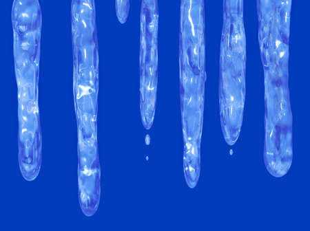 thaw: A row of hanging icicles starting to drip in the thaw.