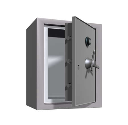 turn the dial: An open safe or vault.
