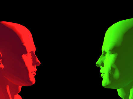 Carved robot heads in red and green facing each other, with copy space. Stock fotó
