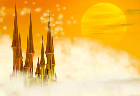 A golden fairy tale castle in the clouds photo