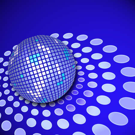 A disco ball with reflections and copy space