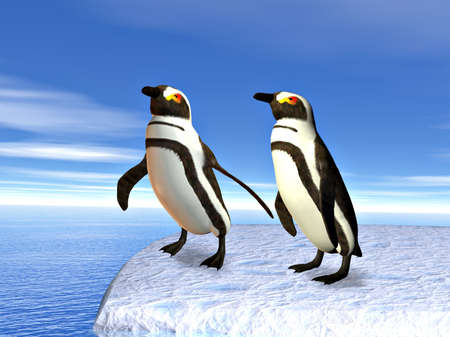 upright: Two penguins standing upright on an iceflow with the ocean behind Stock Photo