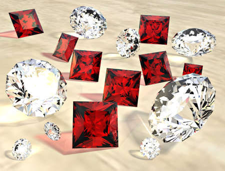 Rubies and diamonds scattered randomly