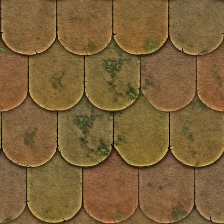 A seamless pattern of roof tiles or shingles with moss