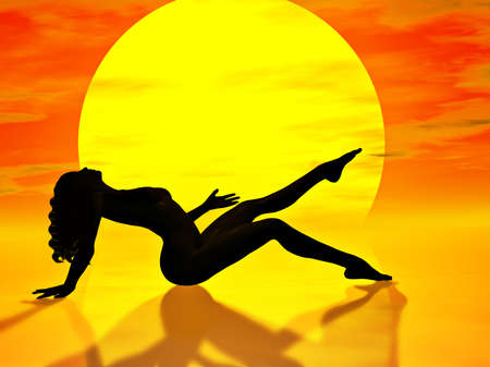 A  woman sunbathing in the hot sunshine Stock Photo