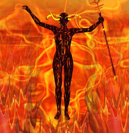 A devil woman surrounded by the flames of Hell Stock Photo