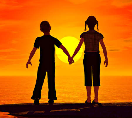 handholding: A young boy reaches for his girlfriends hand while looking at the sunset over the ocean.My own original artwork.