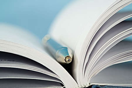 A macro of a notebook open with a pen
