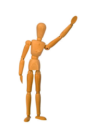 artists mannequin: A wooden artists mannequin waving Stock Photo