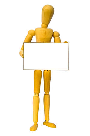 A wooden man holding a sign with space for your text.