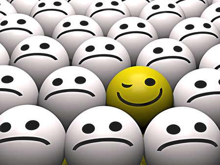 cordialit�: Un giallo smiley occhiolino si distingue dalla folla