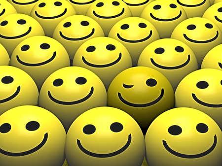 smiley content: Un Clin d'oeil smiley se d�marque de la foule  Banque d'images