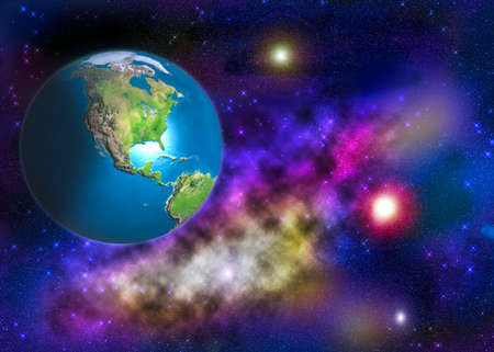 Earth hanging in outer space with lots of stars and planets