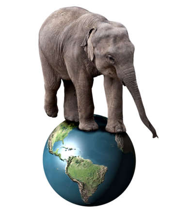 ludicrous: A baby circus elephant balancing on the planet Earth