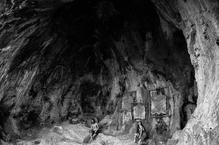 historical: Black and white historical cave