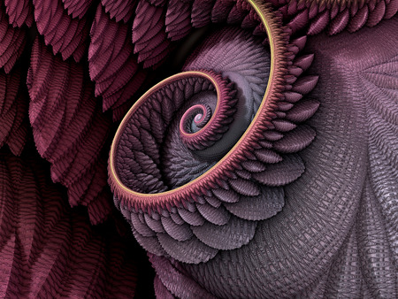 3D Illustration - Spiral shape in pink and purple colors, recursive fractalfantasy computer generated artwork. Fantasy world, infinite vortex repeating geometric spiral pattern 스톡 콘텐츠