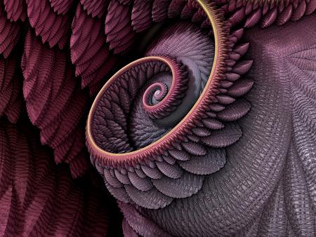 3D-Illustration - Spiralform in rosa und lila Farben, rekursive Fraktale/Fantasie computergenerierte Kunstwerke. Fantasiewelt, unendlicher Wirbel, der sich geometrisches Spiralmuster wiederholt