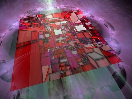 Abstract 3D Squares Illustration, Computer Chip CPU Design, Memory Chip, Semiconductor, Circuit Board, Digital Storage of Information, Transfer of bits and bytes, solid state memory storage 版權商用圖片