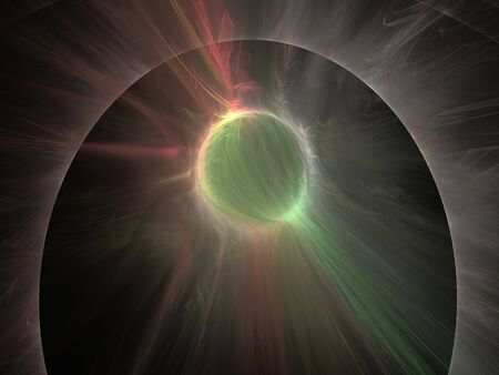 3d Illustration - brilliant glowing spherical ball of light, plasma aura, visible energy concept, powerful radiation, black background, green and pink halo, abstract digital artwork.