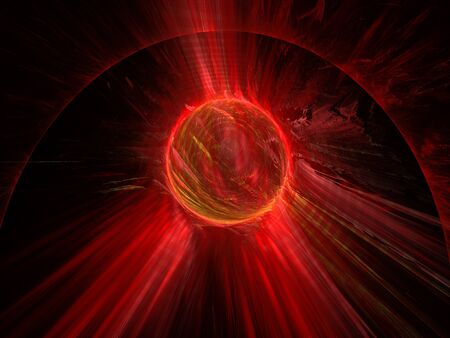 3d Illustration - brilliant glowing spherical ball of light, plasma aura, visible energy concept, powerful radiation, black background, red halo, abstract digital artwork, radiation Stok Fotoğraf