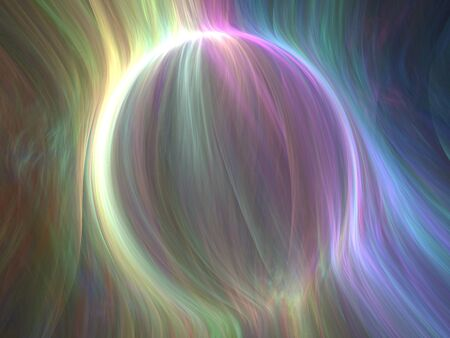 Abstract Spherical Shape 3D Illustration - Colorful gradients of light warped into the shape of a sphere. Brilliant glowing lights, soft rainbow gradients.