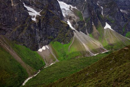 Kharta Valley, Wilderness area in Shigatse region of Tibet, close to Mount Everest. Tibetan Mountains, High Altitude Trekking adventure, Hiking Destination, Large Mountains, Valleys, Rugged Terrain.
