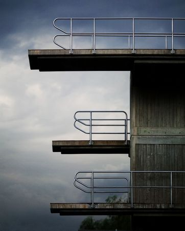 Diving Platforms before a storm Stock Photo