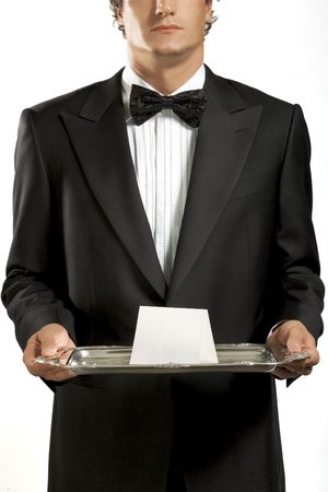 specific clothing: Waiter with black bow tie