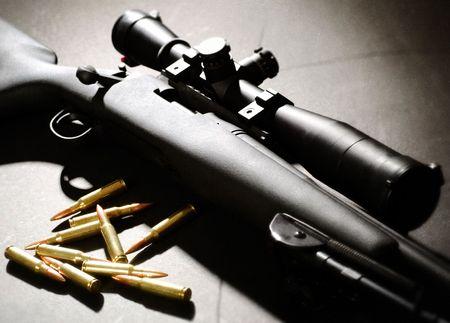 shooting target: Vintovka geweer met opsommings tekens Stockfoto