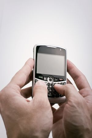 Texting on PDA device with white background and blank screen