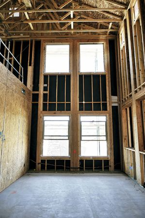 Wooden framing in a house that is under construction