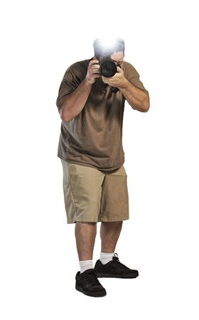 A young paparazzi with a camera and flash isolated on white Stock Photo