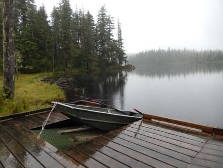 Boat at dock in Southeast Alaska near Petersburg, Alaska
