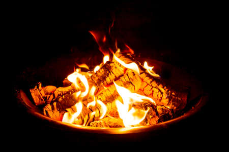 Fire Pit at night showing glowing embers