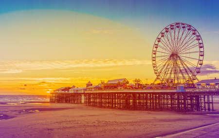 Retro Effect Photo Filter: Blackpool Central Pier and Ferris Wheel, Lancashire, England, UK