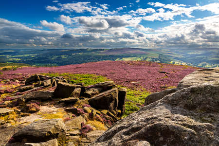 View from Hathersage Moor in Peak District National Park, Derbyshire, England, UK