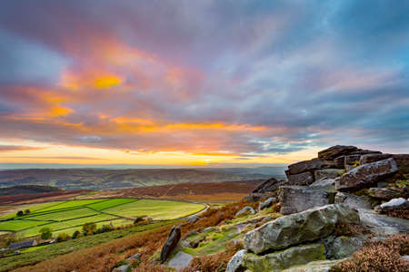 Sunset from Stanage Edge, in the Peak District National Park, Derbyshire, England, UK