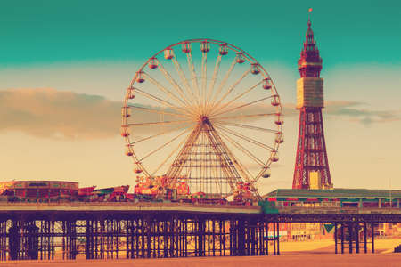Retro Photo Filter Effect Blackpool Tower and Central Pier Ferris Wheel, Lancashire, UK