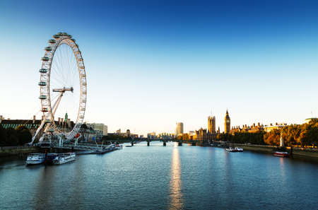 London Skyline landscape at Sunrise with Big Ben, Palace of Westminster, London Eye, Westminster Bridge, River Thames, London, England, UK
