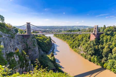 Clifton Suspension Bridge, Bristol, Avon blue sky